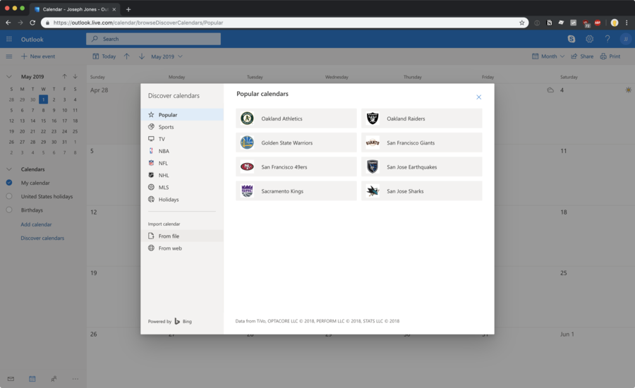 Microsoft Outlook discover your sports team's calendar