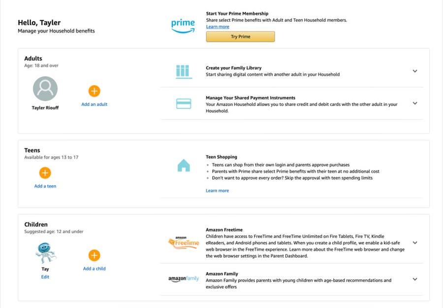 monitoring amazon household account