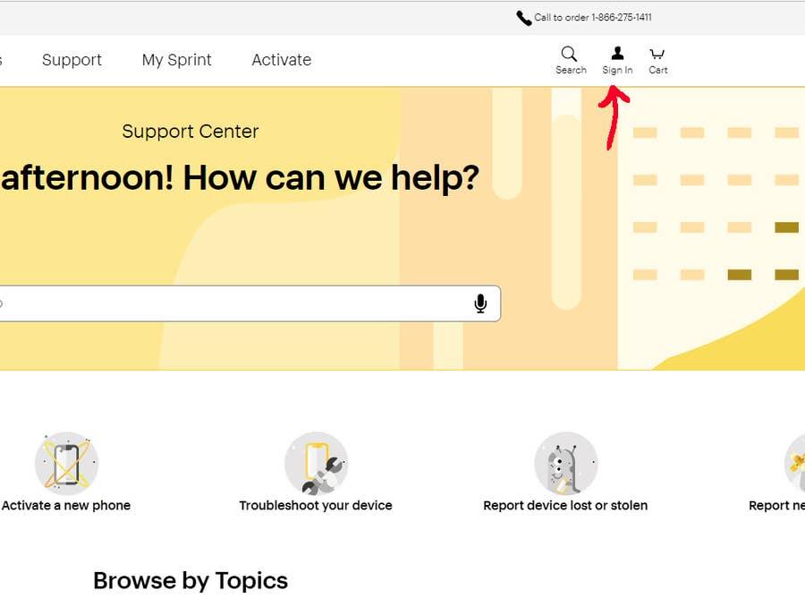 Sprint Website Login Screen
