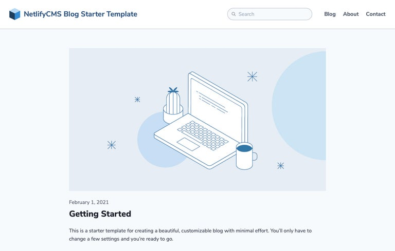 The homepage for the NetlifyCMS Blog Starter Template