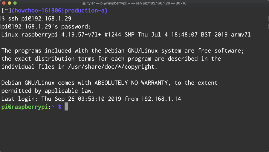 SSH into your Raspberry Pi.