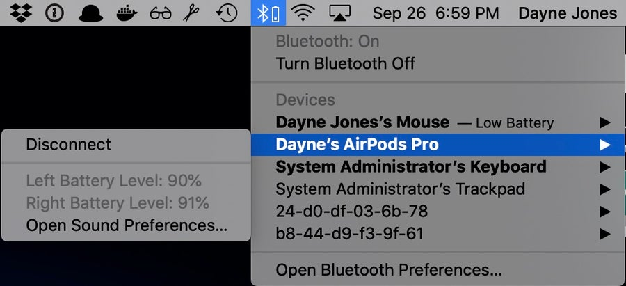 Airpods pro bluetooth menu