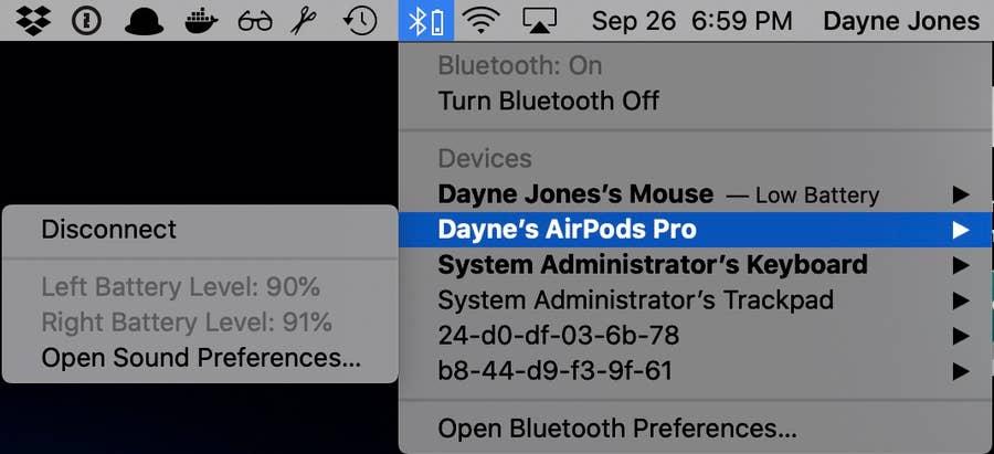 Airpods pro bluetooth menu