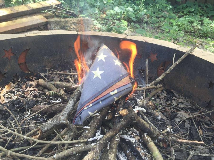 American Flag respectful burning ceremony