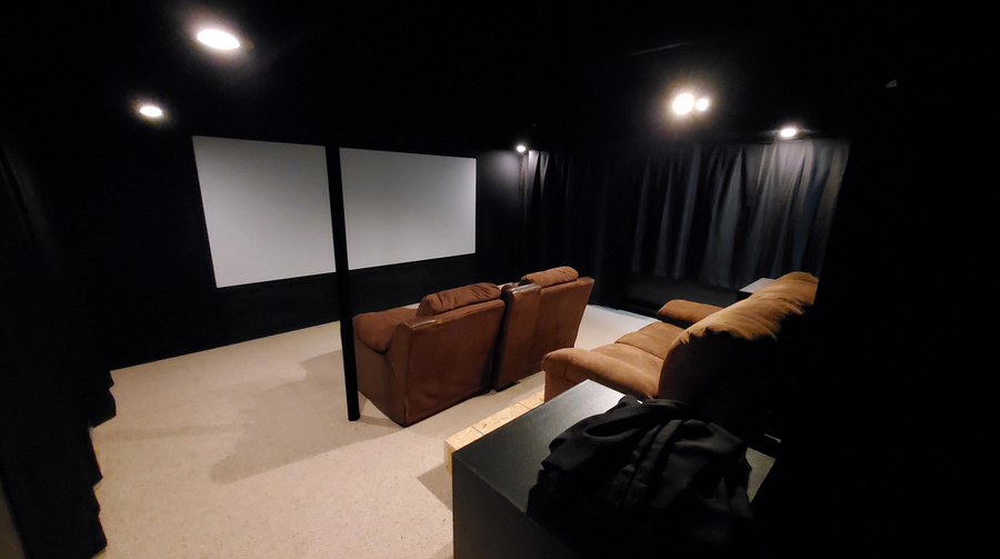 Rustic black box-style home theater