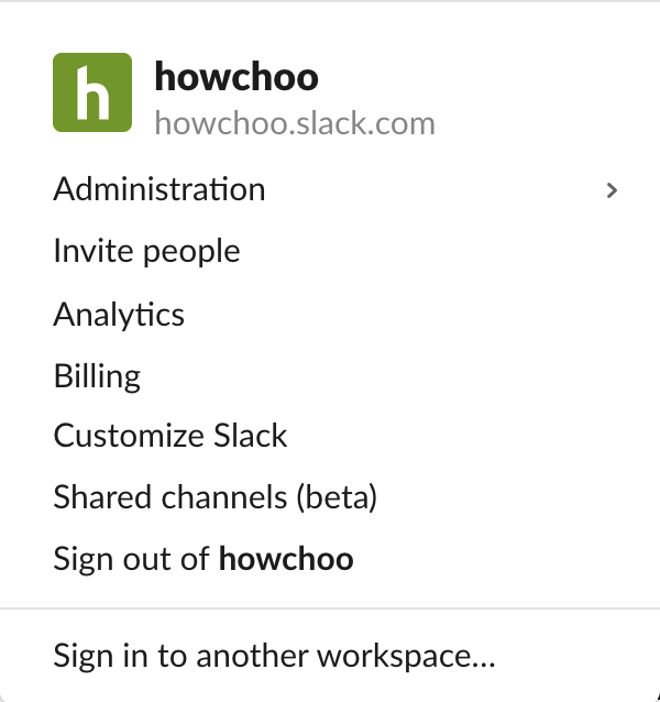 Slack workspace menu
