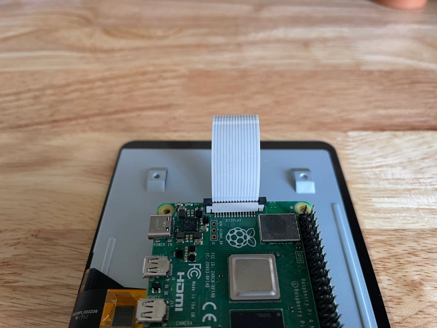 Raspberry Pi touch display ribbon cable attached to the Pi