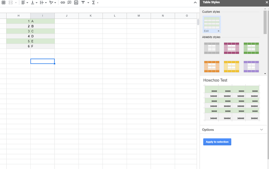 table styles google sheets addon