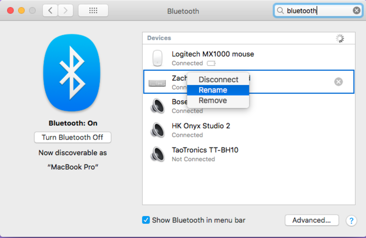 Renaming other bluetooth devices/accessories in MacOS and OS X