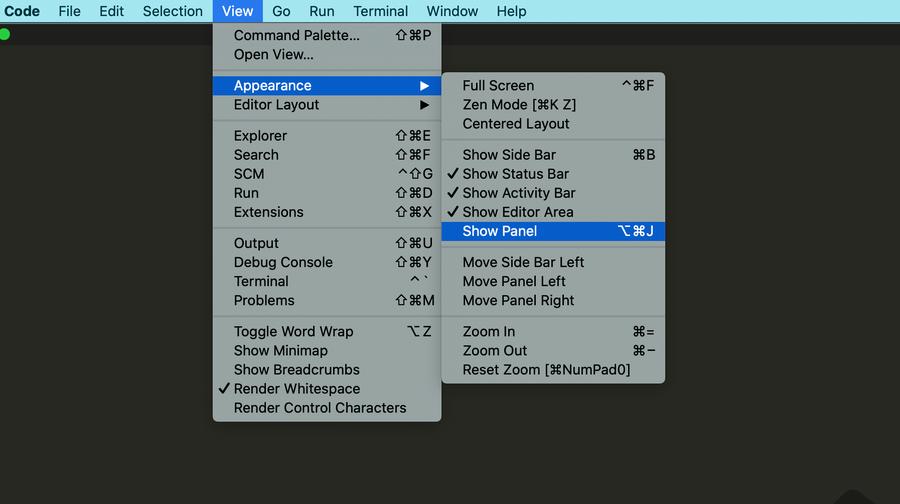 Show VS Code bottom panel