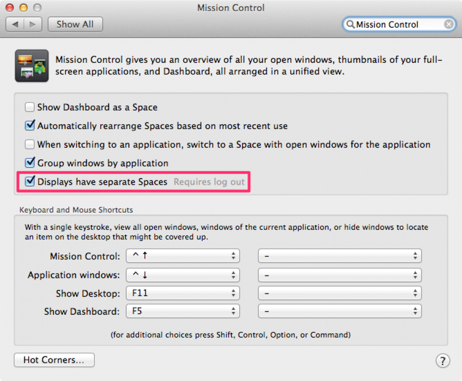 """Uncheck """"Displays have separate Spaces"""" and close system preferences"""