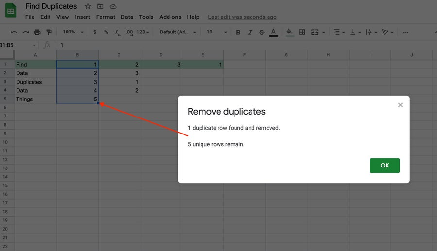 Remove duplicates google sheets