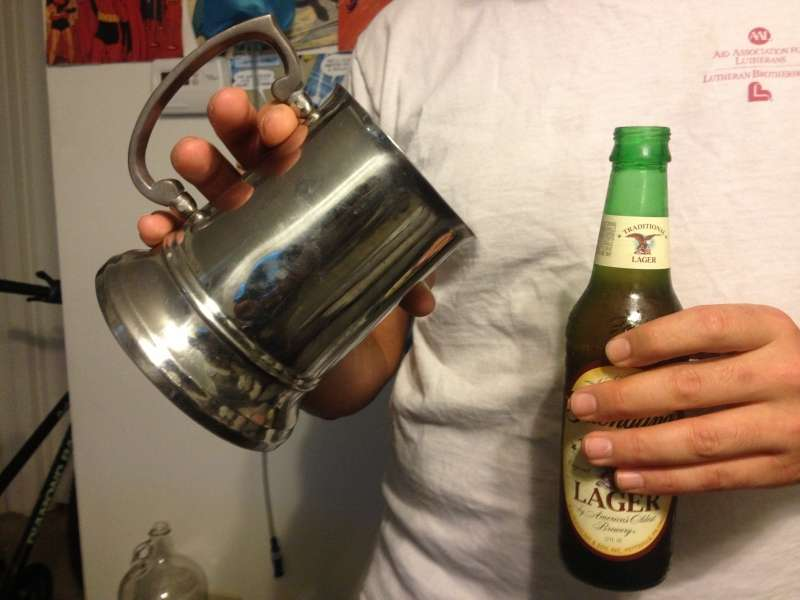 Tip your glass (or mug) 45 degrees