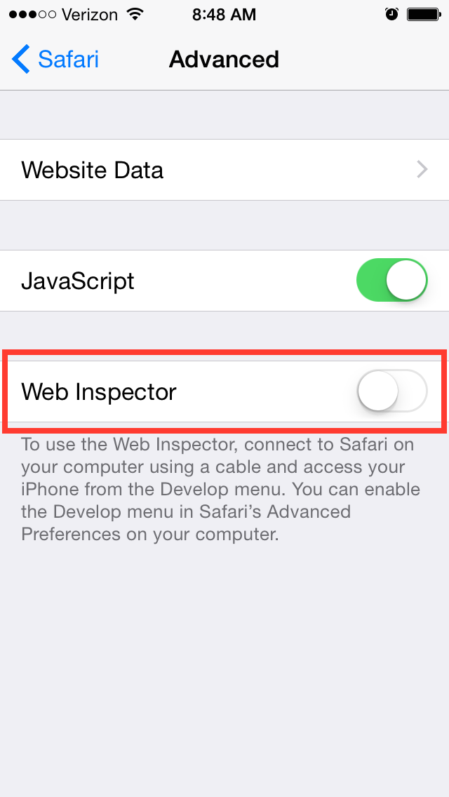 Click on Web Inspector toggle to enable