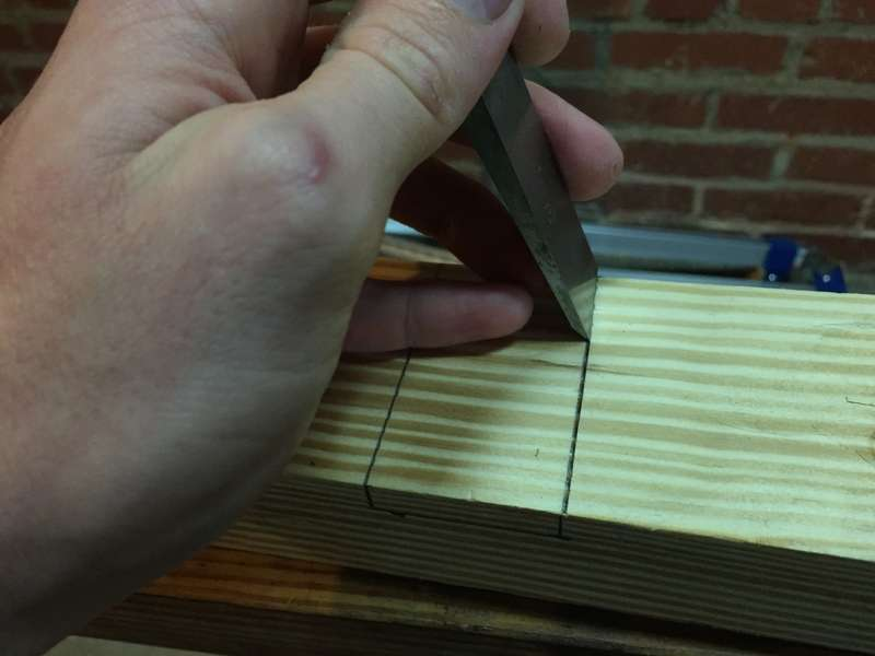 """Make a """"knife wall"""" with a chisel"""