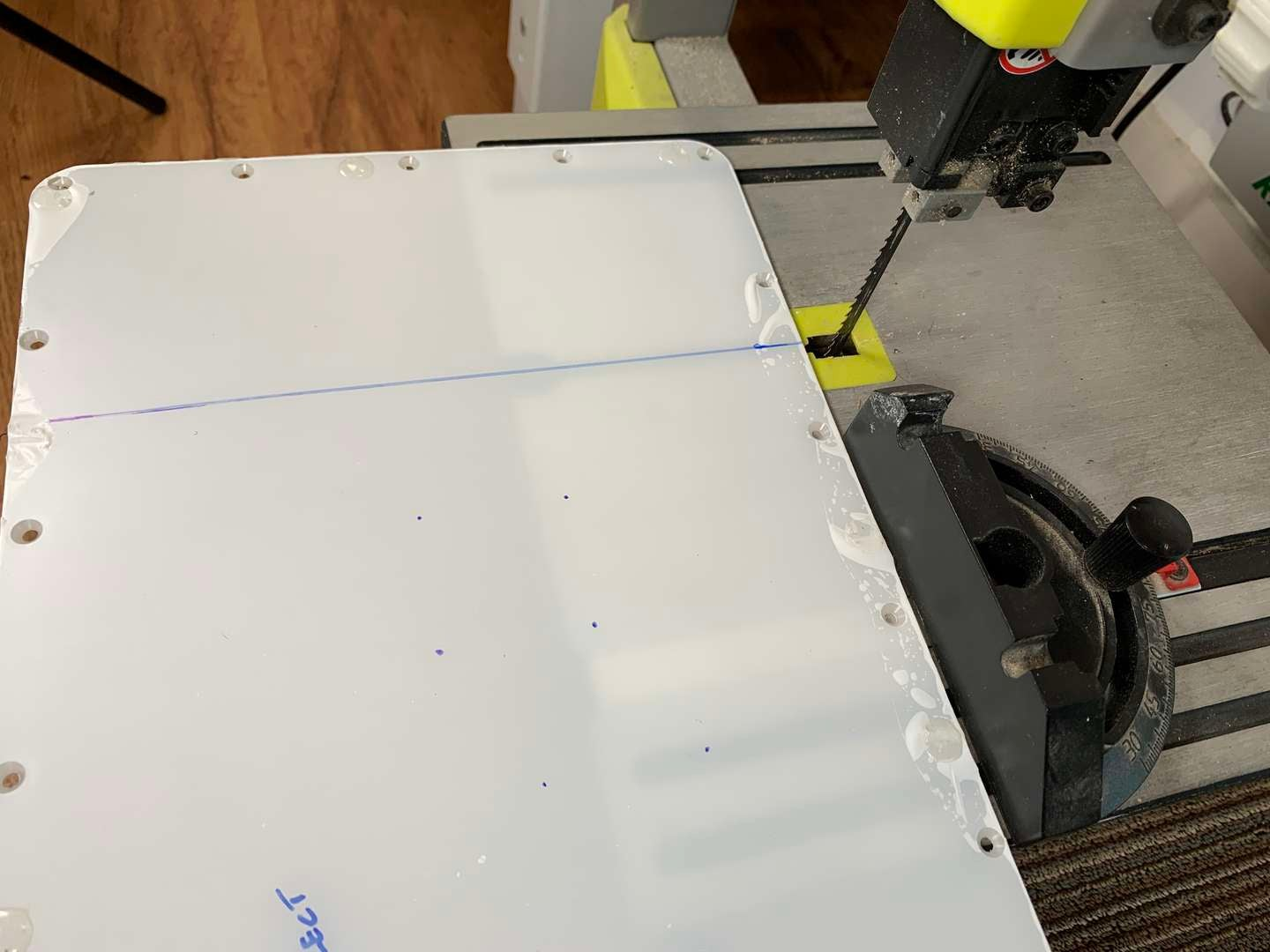 Cutting the AdventurePi panel with a bandsaw