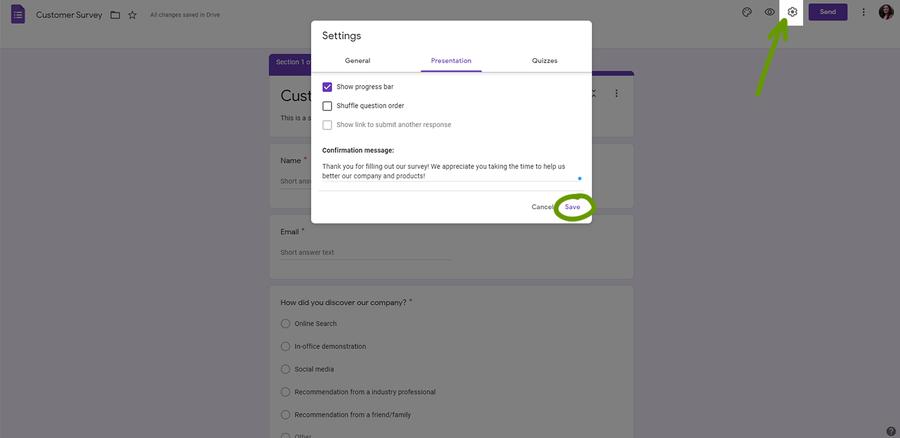 create a survey google forms settings