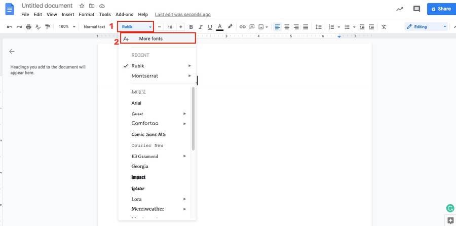 More fonts Google Docs