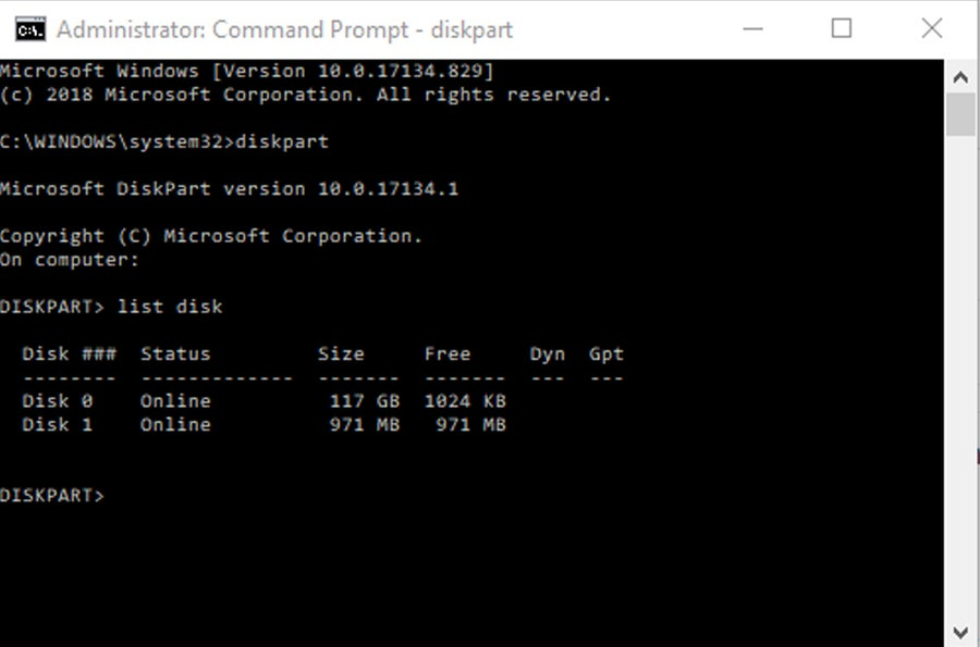 Hard drive partition Windows Command Prompt