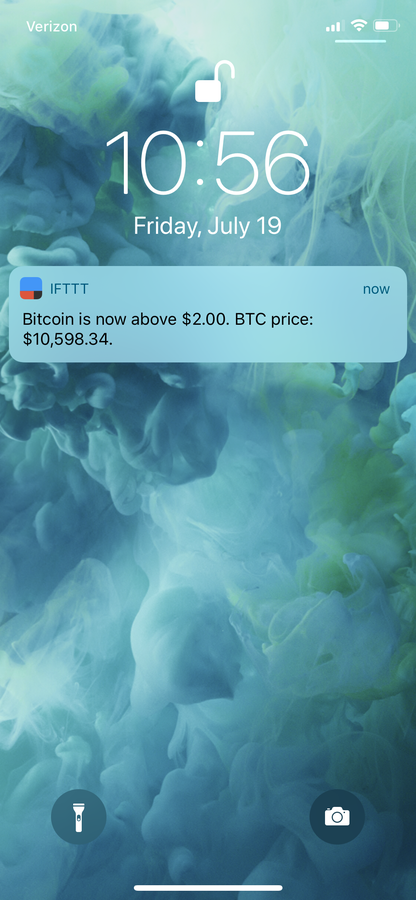 IFTTT bitcoin price notification.