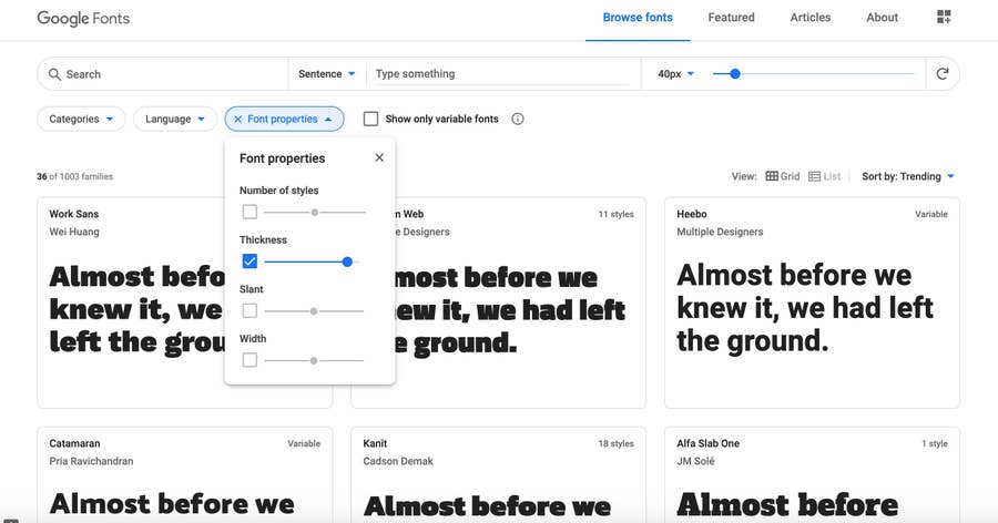Google Font Page with Filter