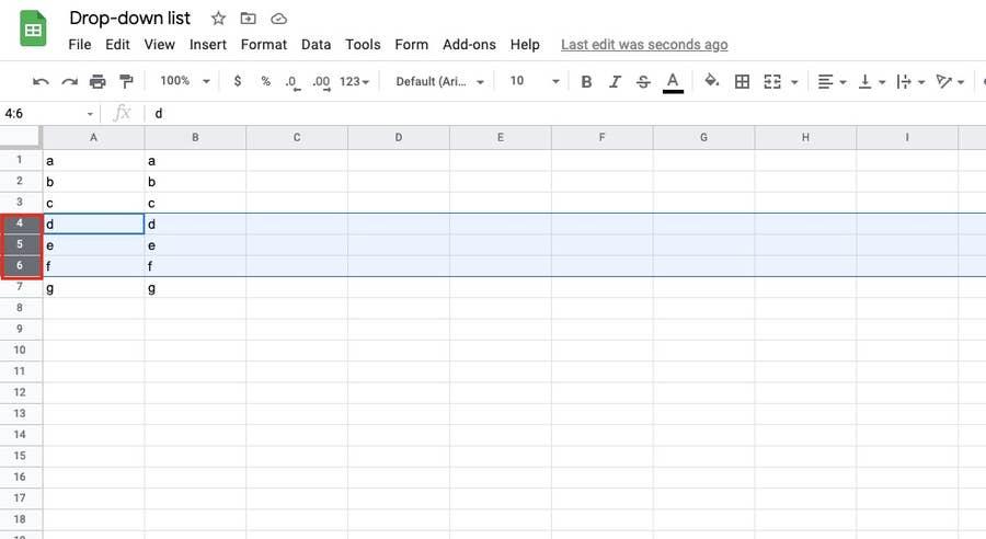 Select rows Google Sheets