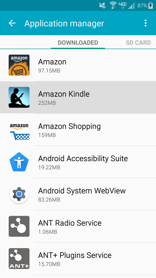 Android app settings