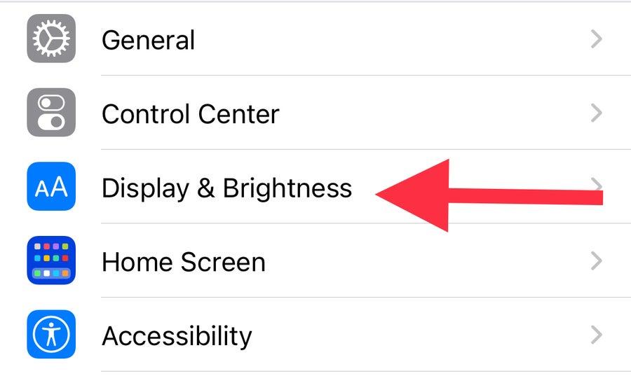 Display & Brightness iPhone