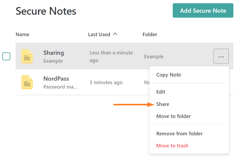 Sharing Secure Note NordPass