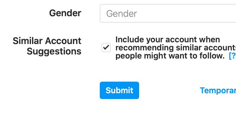 Submit button on Instagram profile