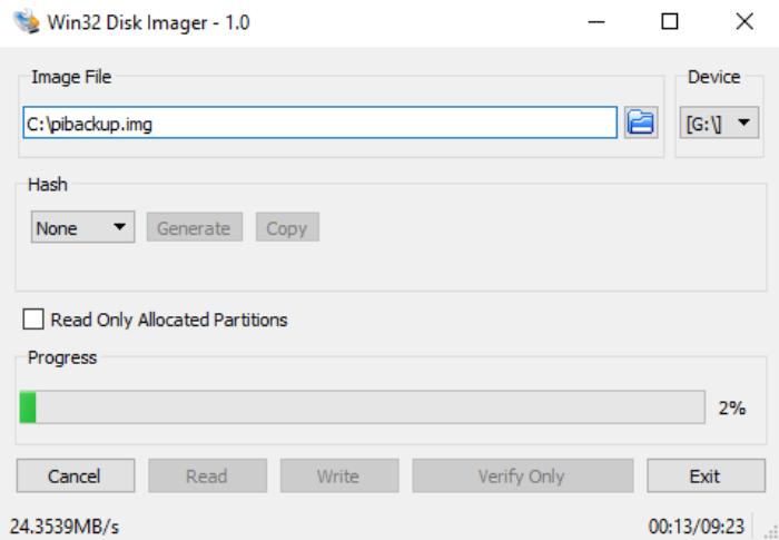 Win32 Disk Imager backup