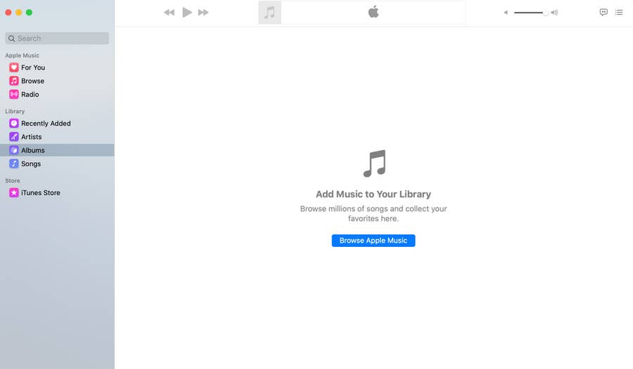 New empty Apple Music library