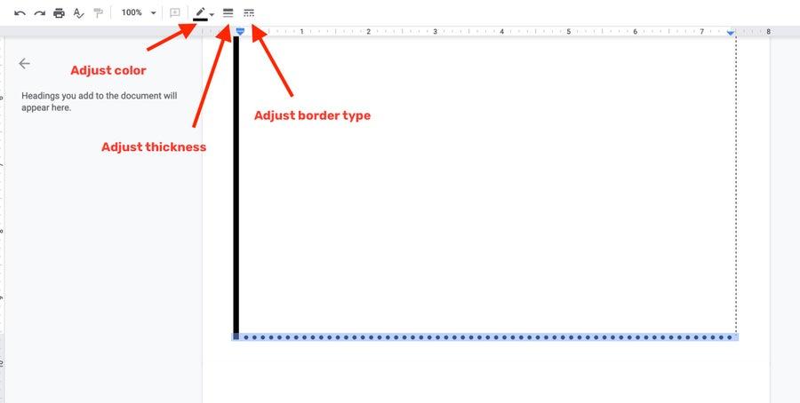 Google Docs Border Adjustments
