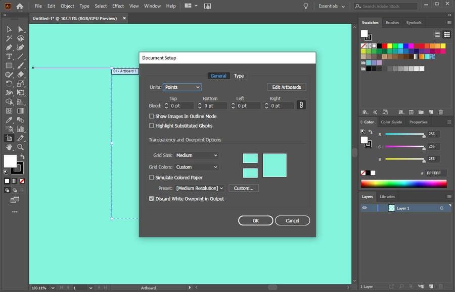 Adobe Illustrator Artboard Color