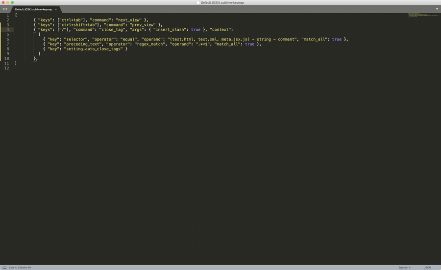 Sublime Text Key Bindings File