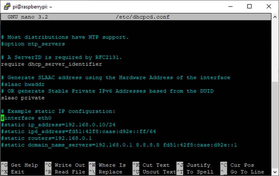 Raspberry Pi OS Static IP