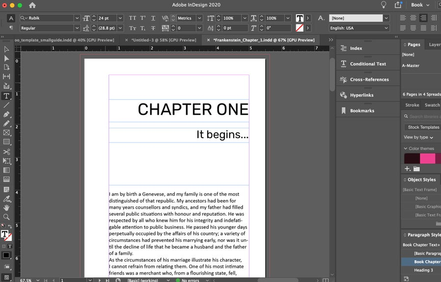 Chapter One Sample Book InDesign
