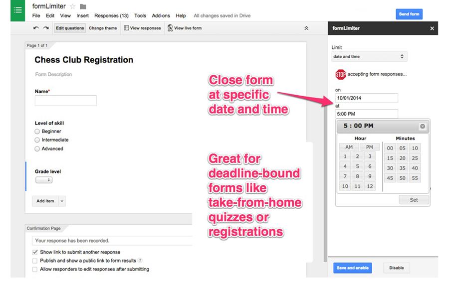 form limiter google forms addon