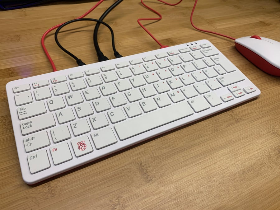 Raspberry Pi all-in-one keyboard with cables connected