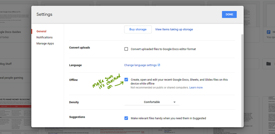 google drive settings offline mode