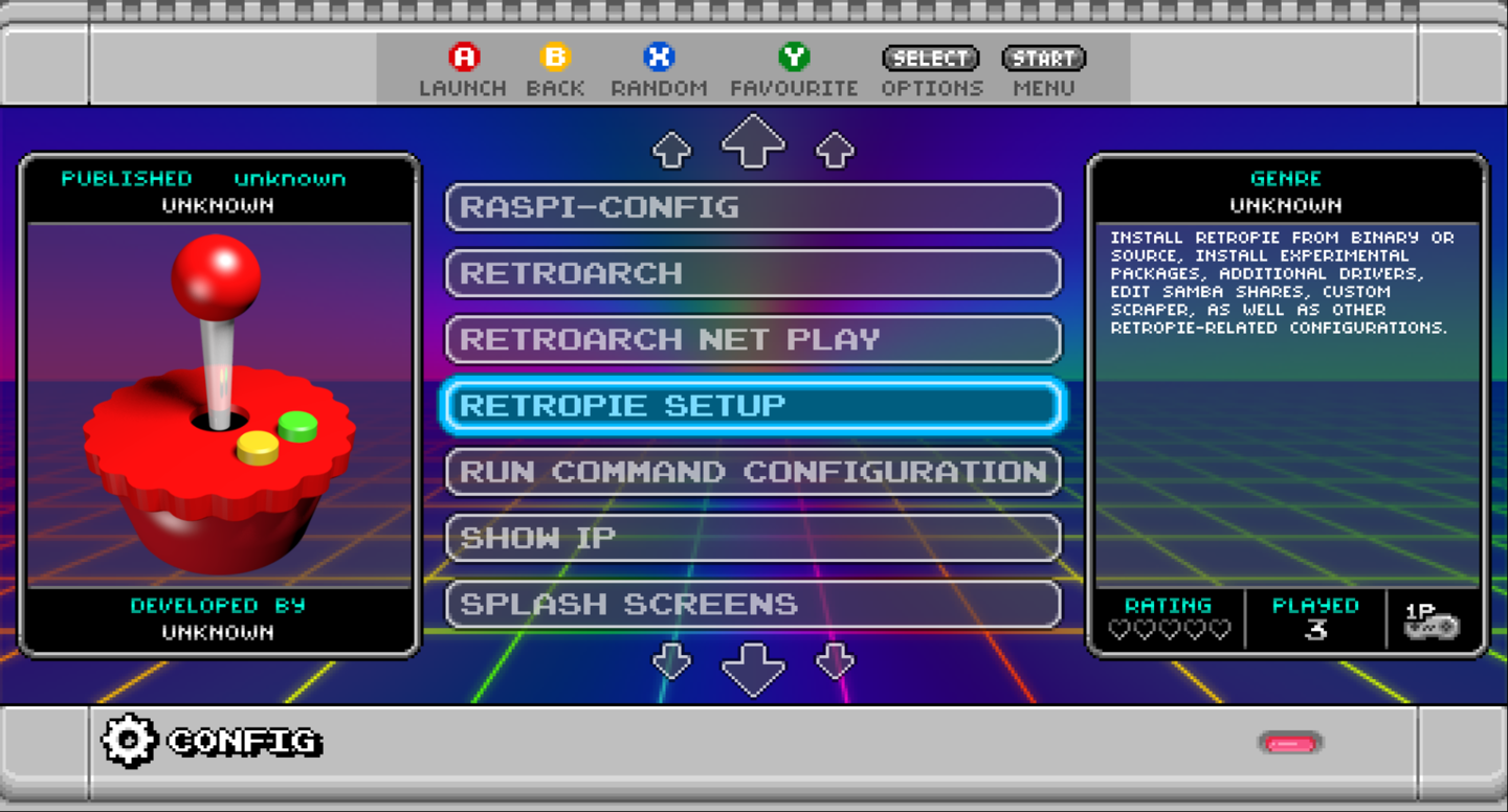 Access the RetroPie menu