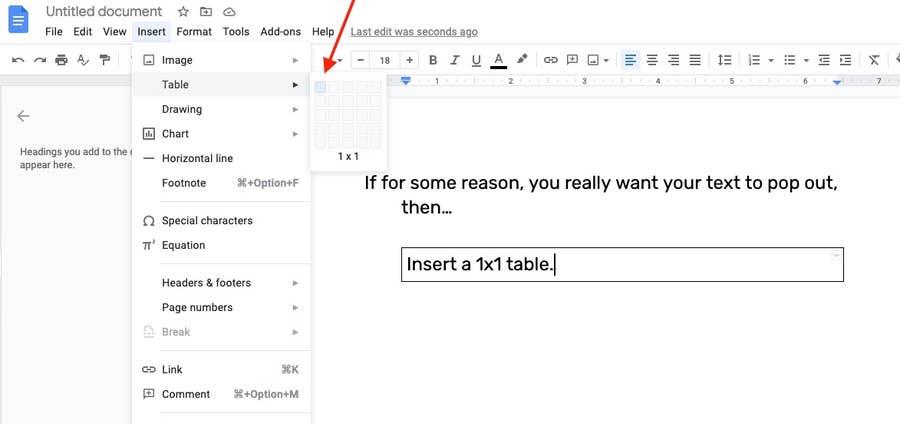 insert a text box Google Docs