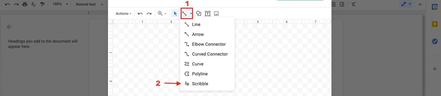 line selector Google Docs