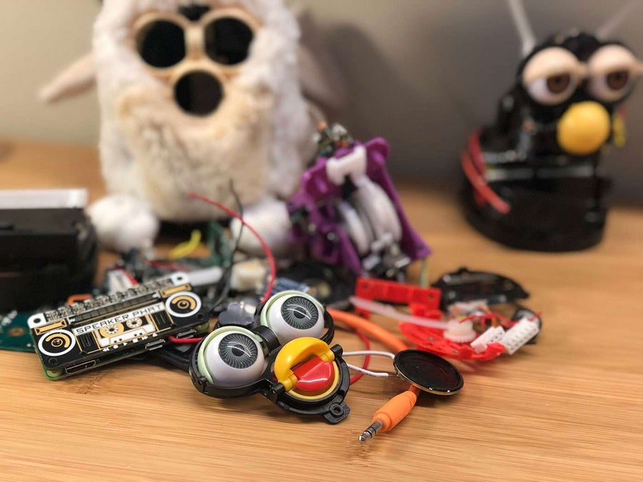A pile of Furby parts