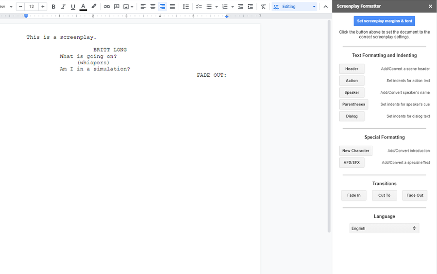 screenplay formatter google docs addon
