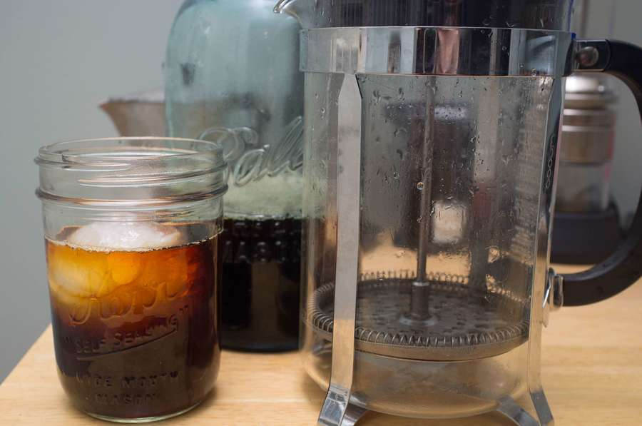 making iced coffee using a french press