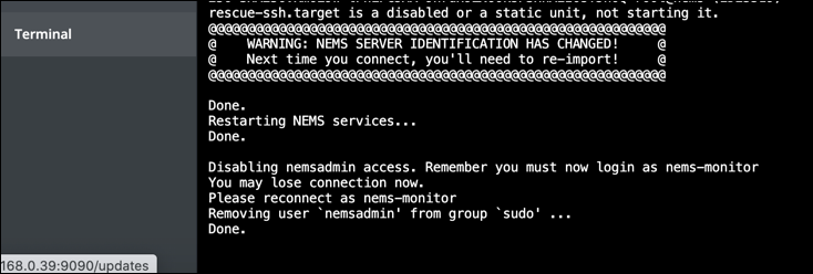Disabling the NEMS default username