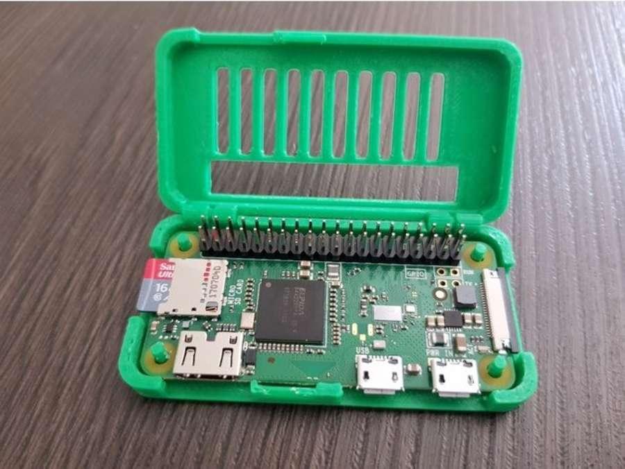 3D printed Raspberry Pi Zero hinge case with GPIO pin slot