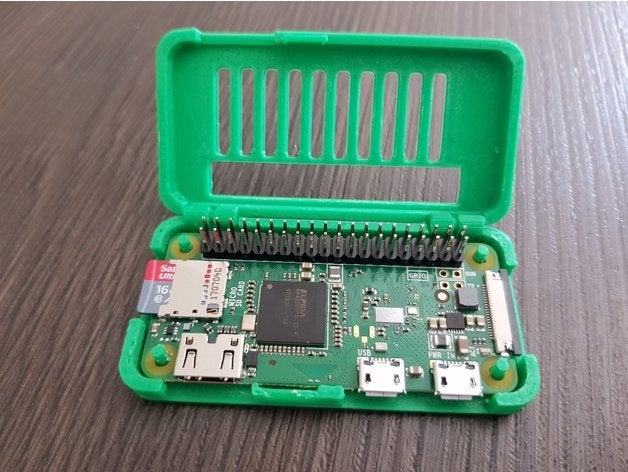3D printed Raspberry Pi Zero hinge case with GPIO pin slot