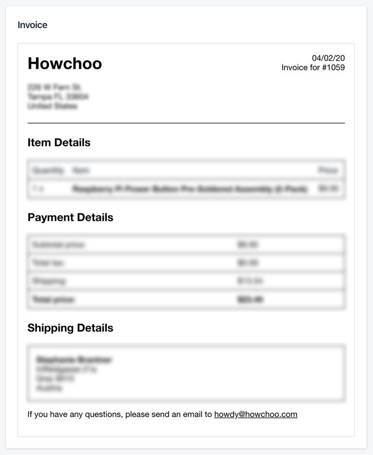 Shopify invoice